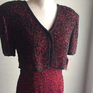 Riva Designs Silk & Hand Beaded Evening Gown